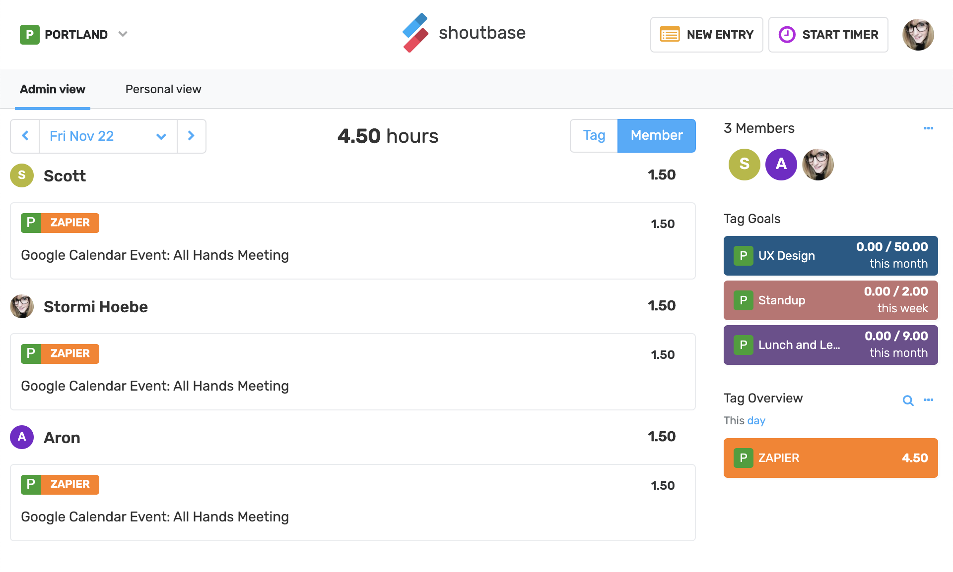 screenshot of Shoutbase team dashboard with 3 time entries