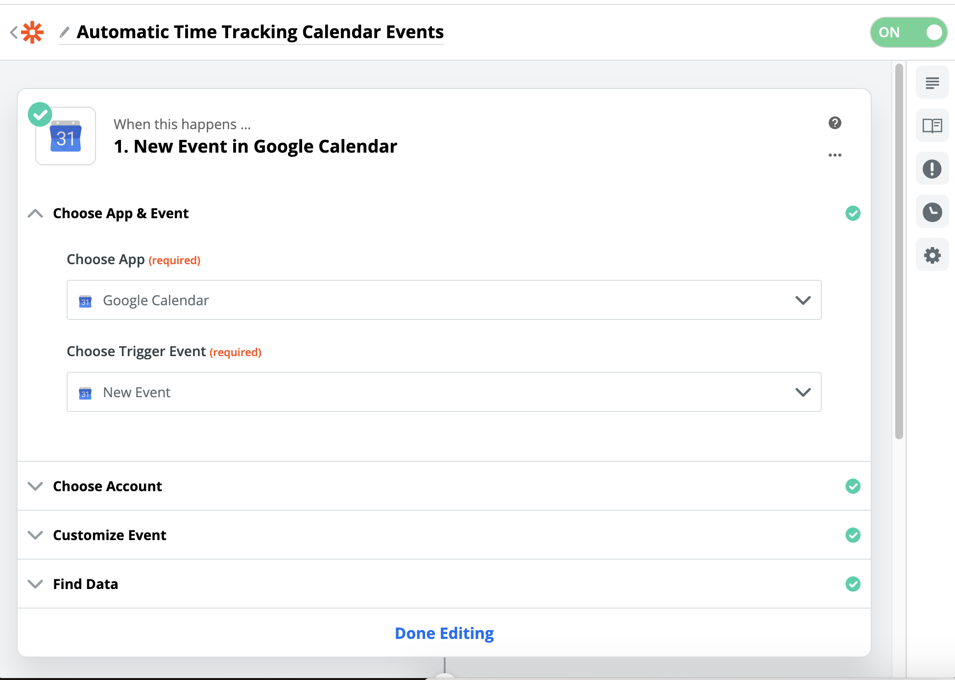 screenshot of Zapier Zap Builder Google Calendar Trigger